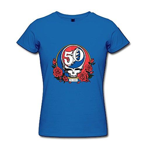 aopo Grateful Dead 50. Jahrestag T-Shirts für Frauen xl Königsblau (Grateful Dead-kragen)