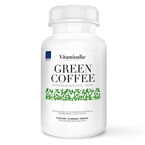 Café verde | 500mg | 90 cápsulas vegetales | 250mg de Ácido Clorogénico| Ayuda a la Pérdida de Peso | Calidad de Vitaminalia | Apto Vegetariano