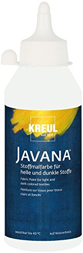 Kreul 91453 - Javana Stoffmalfarbe für helle und dunkle Stoffe, brillante Farbe mit pastosem Charakter, 250 ml Flasche, weiß