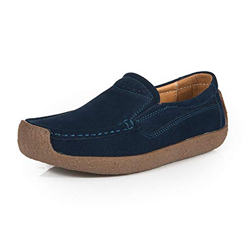 Mocasines Mujer Plataforma Loafers Planos Ante Casual
