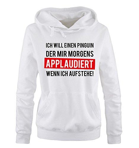 Comedy Shirts - Pinguin der Applaudiert II - Damen Hoodie - Weiss / Schwarz-Rot Gr. (Schwarze Und Weiße Pinguin Hoodie)