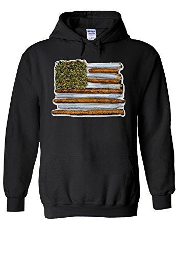Weed American Flag High Drug Novelty Black Men Women Unisex Hooded Sweatshirt Hoodie-XL