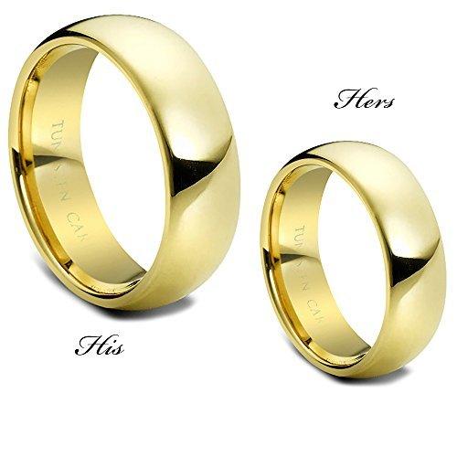 HIS & Hers Anillo de Tungsteno Banda A Juego Diseño De Domo de Overlay de oro de 7mm-carburo de tungsteno boda Band Promise-ring-engasynthetic gement ring-designer banda