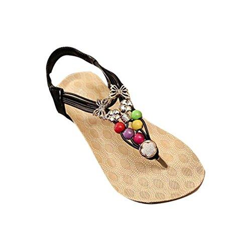 LHWY Damen Sweet Beaded Sandalen Clip Toe Sandalen Beach Schuhe Schwarz