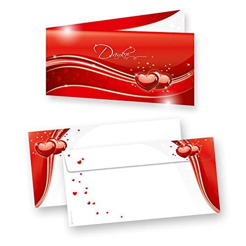 Danksagungskarten Hochzeit Rot Liebe (20 Sets) sehr elegante Dankeskarten für Hochzeit, inkl. Dreieckstaschen für Ihr Hochzeitsbild