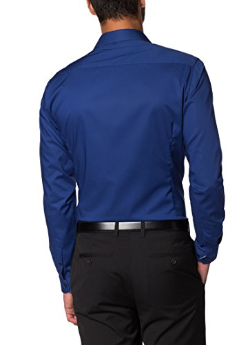 ETERNA Langarm Hemd SUPER-SLIM Stretch unifarben Royalblau