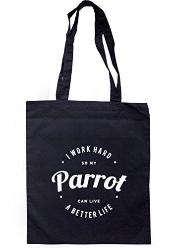 breadandbutterthreads i lavori rigida So My Parrot può vivere una vita migliore Borsa 37,5cm x 42cm con manici lunghi Navy