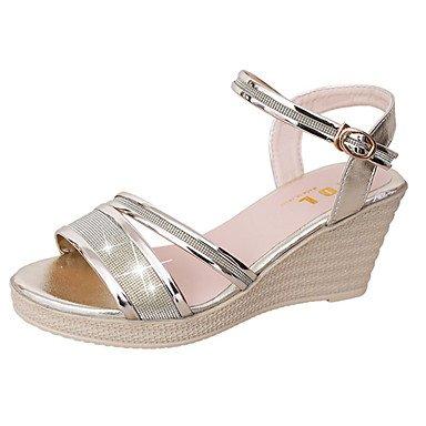Zormey Sandales Femmes Chaussures Club Printemps Été Robe Pu Talon Occasionnels Or Slivoïde De Boucle US5.5 / EU36 / UK3.5 / CN35