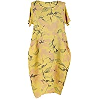 a302fb5b5cd LushStyleUK New Ladies Italian Floral Print Linen Dress Women Lagenlook Dress  Plus Sizes