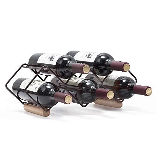 Kingrack Weinregal, stapelbar, horizontale Weinflaschenhalterung, Metall Kupfer Weinhalter, freistehend, Tisch-Weinregal, 5 Flaschen, fertig montiert, einfach aufzustellen