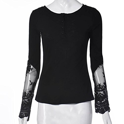 Tee Shirt Femme Kolylong Les Femmes éPissure Manches Longues En Dentelle Vrac Blouse Tops Shirt Noir