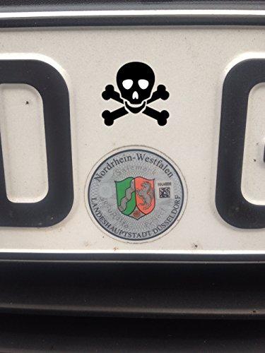 Nummernschild Plakette Skull 8, Aufkleber Auto Kennzeichen Asu Plakette