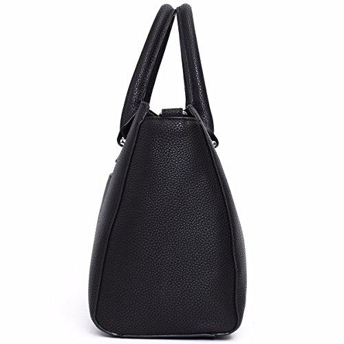 Kadell Vintage morbida pelle borsa del Tote della cartella a tracolla maniglia superiore borsa delle donne Black Black