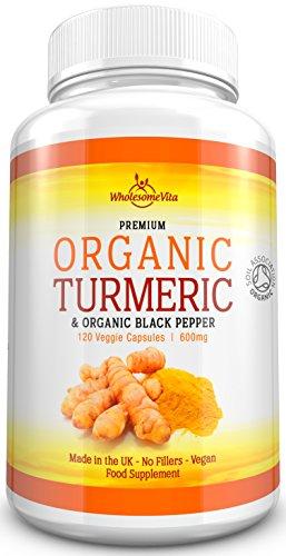 Premium Grade 100% Organic Turmeric Curcumin Capsules with Organic Black Pepper for Optimal Absorption -High Strength- 600mg -Soil Association Certified-120 Veg Capsules - Made in UK Test