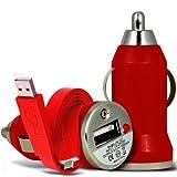 i-Tronixs Bullet (Rouge) ASUS Zenfone 2 Deluxe ZE551ML Compact Rapide Chargeur Voiture USB avec Chargeur LED Light & Super Rapide 1 Mètre USB Data Flat Transfer Cable Chargeur Sync