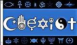 5ft x 3ft (150x 90cm) nebeneinander Welt Frieden Religiöse 100% Polyester Material Flagge Banner Ideal für Pub Club Schule Business Party Dekoration