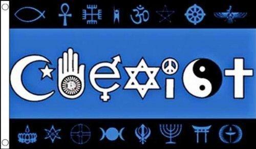 (5ft x 3ft (150x 90cm) nebeneinander Welt Frieden Religiöse 100% Polyester Material Flagge Banner Ideal für Pub Club Schule Business Party Dekoration)