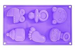 Idea Regalo - Pavonidea FR089LI3S Stampo in Silicone Multiporzione Baby Birth 6 Impronte, Lilla