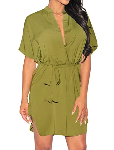 sourcingmap Femme Ourlet Courbe Manches chauve-souris Col V Profond Robe Tunique ceinture T Vert