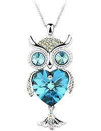 Le Premium® Eule Strickjacke Halskette Gemacht mit Herz-geformten Kristallen von Swarovski- Bermuda blau