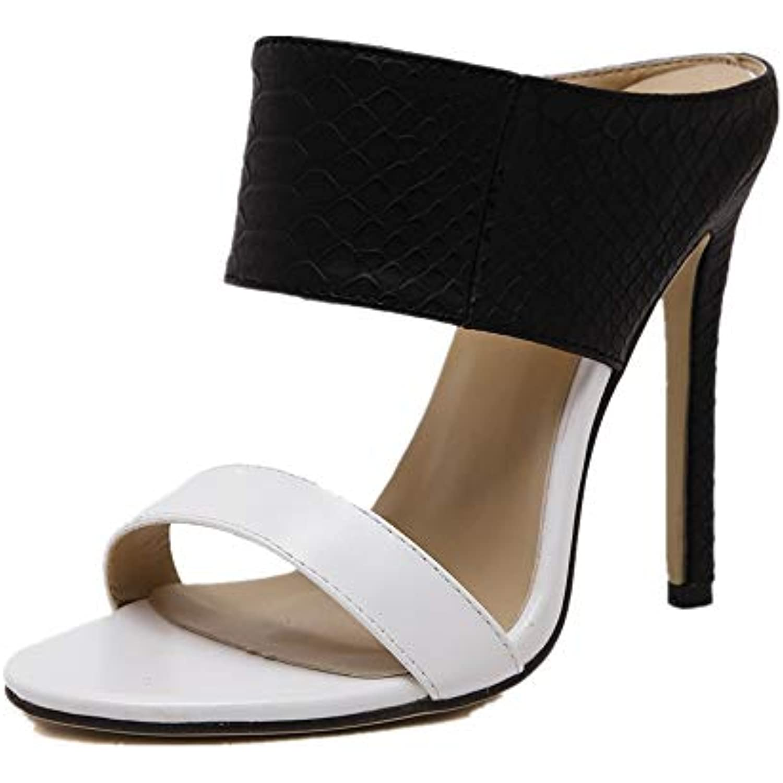 Fuxitoggo Backless Pumps Femmes Peep Toe : Talons Hauts Sexy Slip on Chaussures color eacute; : Toe Noir, Taille : EU 40 B07H88LHF3 - 433774