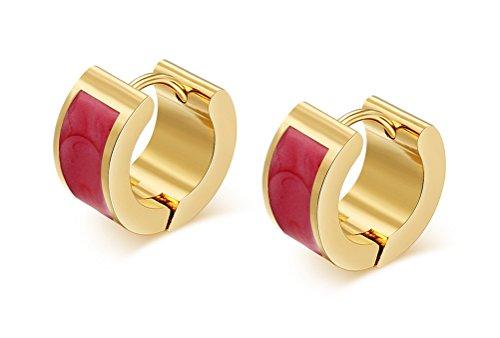 Vnox Edelstahl mechanically Emaille Kleine Huggie Hoop Ohrringe für Männer und Frauen 18K Gold überzogen
