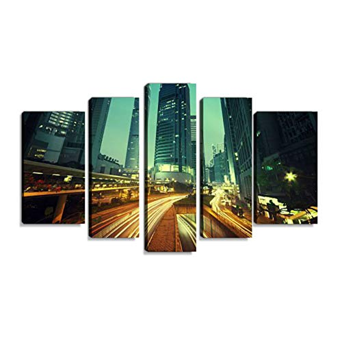 Verkehr in Hong Kong at Sunset time Wandbilder abstrakt Leinwandbild Digitalkunstdruck leinwanddrucke Eigenes Design Gemälde Wanddekoration mit Holzrahmen 5-teilig