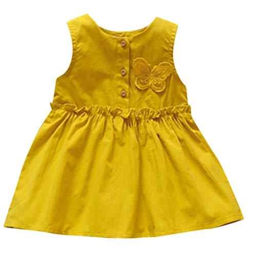 squarex Kleinkind Kinder Baby mädchen ärmelloses Kleid einfarbig Sommerkleid Schmetterling Dress Prinzessin Dress Nette Bequeme beiläufige Abnutzung