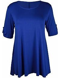 Neue Womens Plus Größe Stretch Fit Rundhals Einfarbig Knopf Oberteile Damen Dreiviertel Aufgerollter Ärmel T-Shirt Top