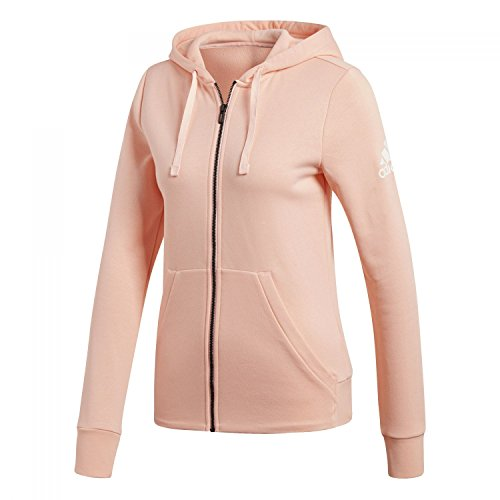 adidas Damen Essentials Solid Full Zip Hooded Kapuzen-Jacke, Haze Coral/White, M