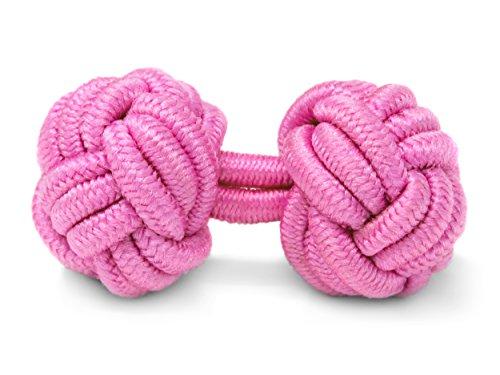 THE SUITS CREW Manschettenknöpfe Seidenknoten Herren Damen Nylon Stoff   Cufflinks Silk Knots für alle Umschlagmanschetten Hemden   Einfarbig (Rosa)