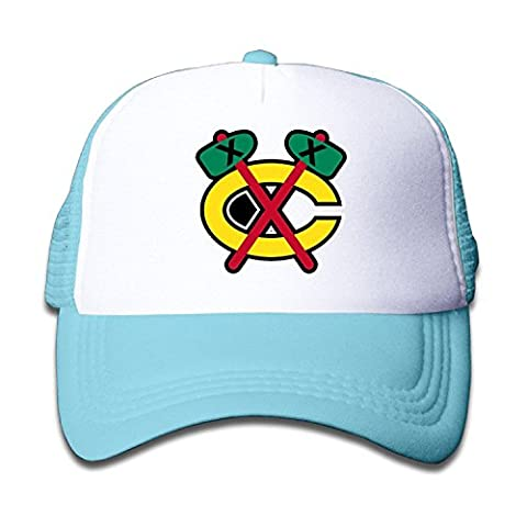 WH&SY Chicago-blackhawks-logo Green Children Mesh Trucker Cap Adjustable Fashion Kids Mesh Snapback Hat Cool Caps SkyBlue