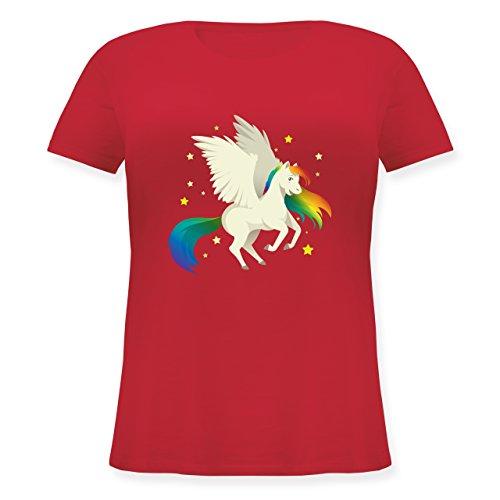 Comic Shirts - Pegasus - Lockeres Damen-Shirt in großen Größen mit Rundhalsausschnitt Rot