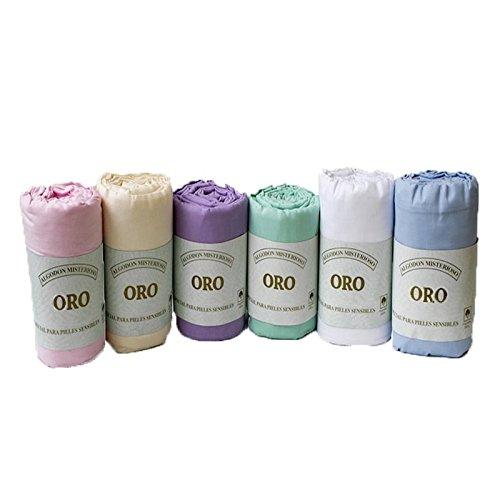 (135 AZUL) Sabana bajera LISA ajustable, elástica muy ligeras 100% algodón de verano Cama de hasta 200 cm + 25 cm Fácil lavado, planchado y duraderas con elástico en 4 puntos RegalitosTV (135_x_200_cm, AZUL)