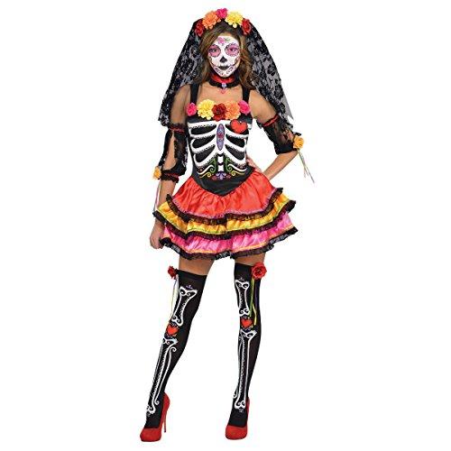 Amscan International Buntes Skelett Kostüm Dia de los Muertos Damen - Dia De Los Muertos Skelett Kostüm