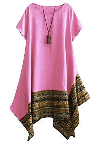 Vogstyle Femme T-shirt Robe Asymétique Eté Imprimée Chic Décontractés Tunique Tops Rose