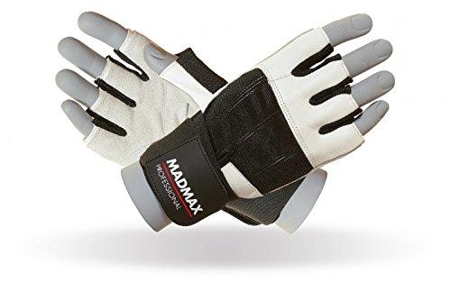 MAD MAX Fitness Handschuhe Madmax Professional Leder, Gloves Leather, fitnessstudio, traininghandschuhe, Weiß/Schwarz, M