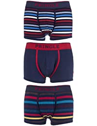 Mens 3 Pair Pringle Plain and Striped Cotton Boxer Shorts In Navy and Red