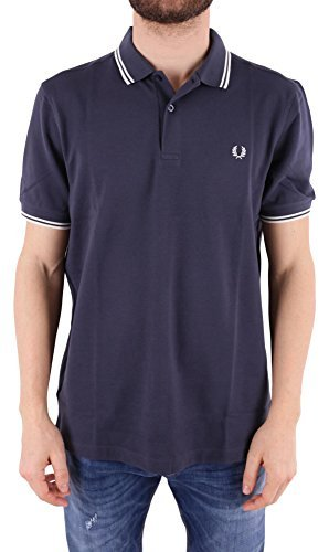 Fred Perry Herren Poloshirt Twin Tipped Shirt, Blau (Dark Airforce/Ecru 278), Large