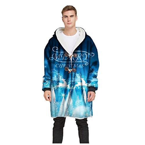 RANTA 2019 Sales Herren 3D-Printed Mantel Mit Trinkhorn Taste und Kapuzen Herbst Tier-Muster Winter Warm Halten Men's Strickjacke Kapuzenpullover Sweatshirt Pullover Sweater