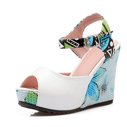 Heart&M PU Stiching colore peep-toe di slittamento delle donne resistenti Thick Sole 9.5cm alti talloni di cunei scarpe Bianca