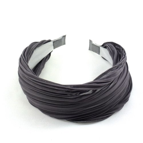 rougecaramel - Serre tête/headband/ large plissé façon bandeau - gris foncé