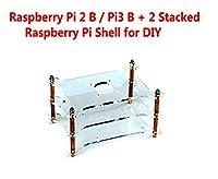 Raspberry Pi 2 B / Pi3 B + 2 Stacked Raspberry Pi Shell for DIY, Access to All Pi Raspberry Pi 3,2 B & B+ Consumer Ports and GSI, Camera and GPIO Connectors.