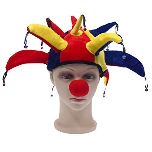 HUPLUE Halloween Jester Clown Hat Funny Clown Kostüm Hat Clown Nase Multicolor Mardi Gras Party Kostüm - Mardi Gras Clown Kostüm