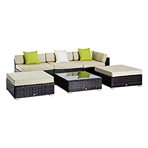 417qyAM9S4L. SS300  - Outsunny 6 PC Rattan Sofa Coffee Table Set Sectional Wicker Weave Furniture for Garden Outdoor Conservatory w/Pillow Cushion - Brown