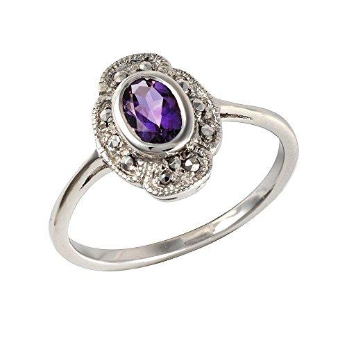 Esse Marcasite Ring Sterling Silber rhodiniert Amethyst Oval Jugendstil Größe–N