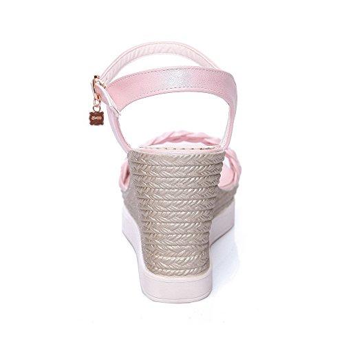 AllhqFashion Femme Boucle à Talon Haut Pu Cuir Tricotage Ouverture D'Orteil Sandales Rose