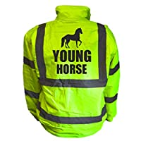 Young Horse Kids Hi Vis Yellow Bomber Jacket, Reflective High Visibility Safety Childs Coat, By Brook Hi Vis