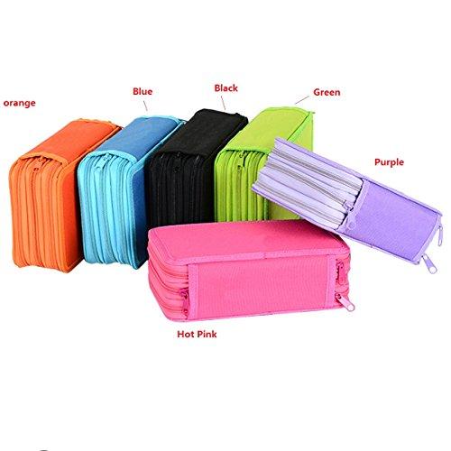 butterme 3 couches Grande Capacité Oxford Crayon Organiseur portable Aquarelle Crayon de frais de boîte de cosmétiques sac pour jeune fille Constitutionnel de sacs d'Étudiants Noir noir Free size