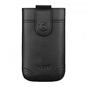 Bugatti Dublin Small Large Size Leather Slim Case for Mobile Phones - Black